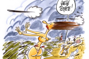 dessin : Mauvais temps sur la cte