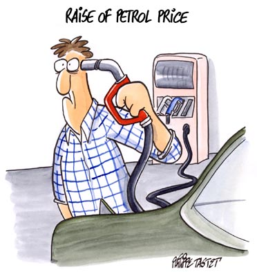 Cartoon press : Raise of petrol price