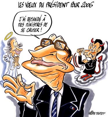 dessin de presse : Les voeux pieux du prsident pour 2006